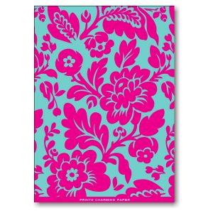 Aqua Floral on Hot Pink Graduation Announcement