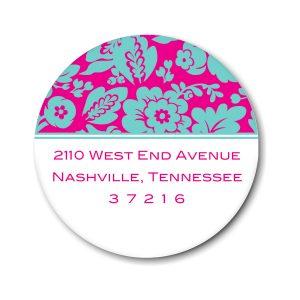 Aqua Floral on Hot Pink Return Address Label