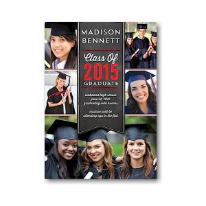Banner Collage Red Graduation Announcement Icon