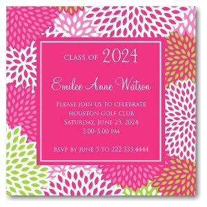 Beautiful Mums Solid Center Graduation Announcement Icon