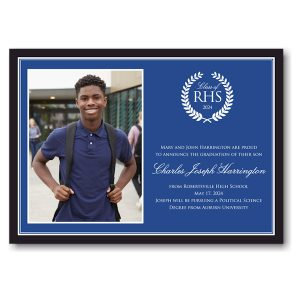Black & Blue Border Photo Graduation Announcement Icon