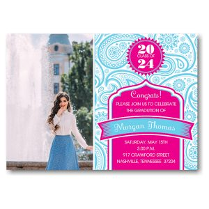 Blue Paisley on Hot Pink Graduation Announcement Icon