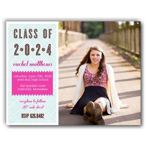 Blue & Pink Crosshatch Graduation Announcement Icon