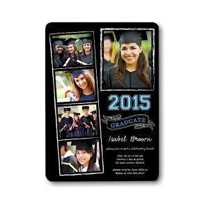 Chalkboard Snapshots Blue Graduation Announcement Icon