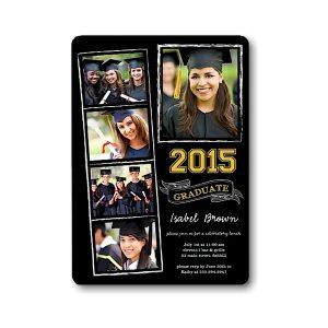 Chalkboard Snapshots Gold Graduation Announcement Icon