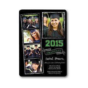 Chalkboard Snapshots Green Graduation Announcement Icon