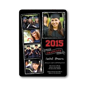 Chalkboard Snapshots Red Graduation Announcement Icon
