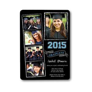 Chalkboard Snapshots White Graduation Announcement Icon