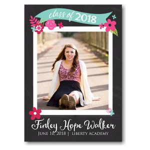 Chalkboard Spring Floral Banner Graduation Announcement Icon