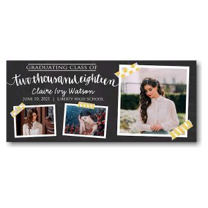 Chalkboard and Tape Graduation Announcement Icon