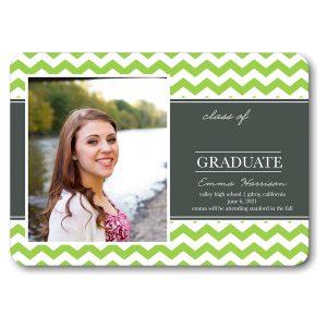 Classic Chevron Green Graduation Announcement Icon