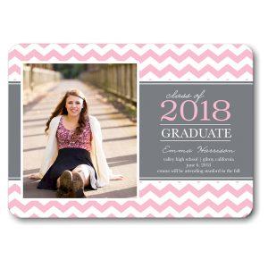 Classic Chevron Pink Graduation Announcement Icon