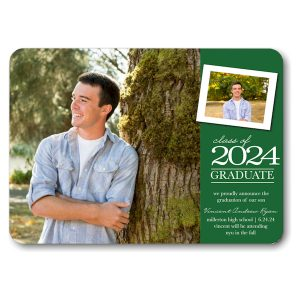 Classic Snapshot Green Graduation Announcement Icon