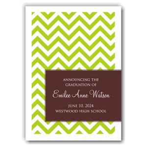 Designer Chevron Lime & Coffee Graduation Announcement Icon