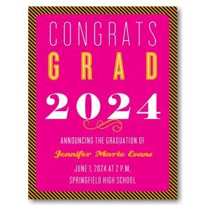 Diagonal Stripes Orange & Pink Graduation Announcement Icon
