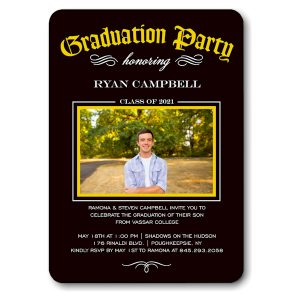 Diploma Party Gold Graduation Announcement Icon