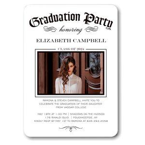 Diploma Party White Graduation Announcement Icon