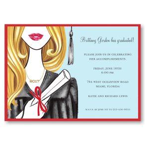 Glamorous Grad Blonde Graduation Party Invitation Icon