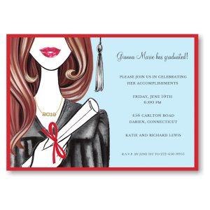 Glamorous Grad Brunette Graduation Party Invitation Icon