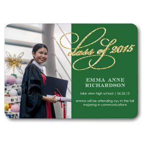 Glitter Script Green Graduation Announcement Icon