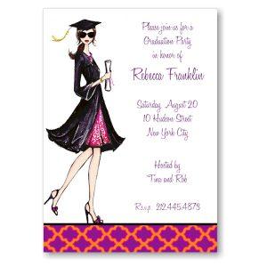 Gorgeous Grad Brunette Graduation Party Invitation Icon
