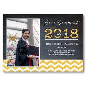 Grad Chevron Chalkboard Yellow Graduation Announcement Icon