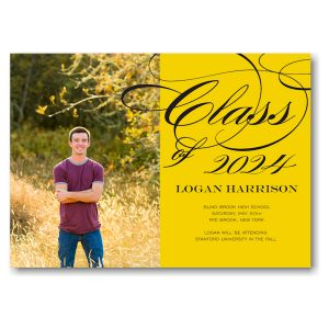 Grad Class Swirls Yellow Graduation Announcement Icon