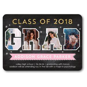 Grad Photo Letters Pink Graduation Announcement Icon