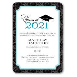Graduate Cap Blue Graduation Announcement Icon