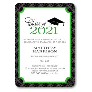 Graduate Cap Green Graduation Announcement Icon