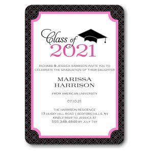 Graduate Cap Pink Graduation Announcement Icon