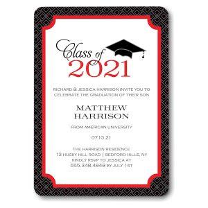 Graduate Cap Red Graduation Announcement Icon