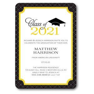Graduate Cap Yellow Graduation Announcement Icon