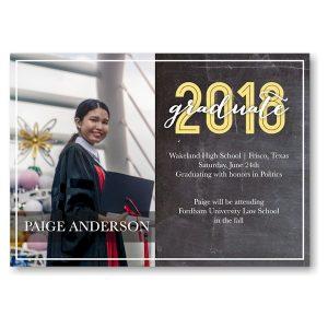 Graduate Chalkboard Script Yellow Graduation Invitation Icon