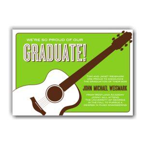 Guitar on Green Graduation Announcement Icon