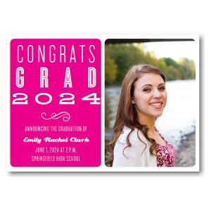 Hot Pink on White Photo Graduation Announcement Icon