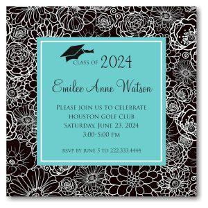 Modern Floral Custom Color Center Graduation Announcement Icon