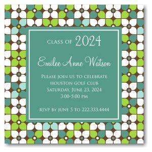 Modern Floral Grid Solid Center Graduation Announcement Icon
