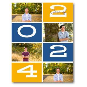 Orange & Blue Photo Grid Graduation Announcement Icon