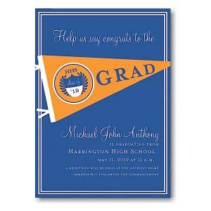 Orange and Blue Pennant Graduation Announcement Icon