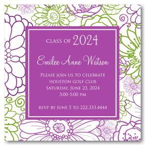 Spring Floral Solid Center Graduation Announcement Icon