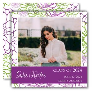 Spring Floral Square Band Graduation Announcement Icon