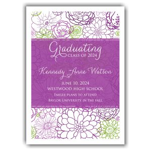 Spring Floral Transparent Center Graduation Announcement Icon