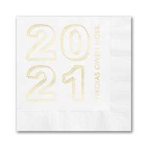Dashed Year Foil Beverage Napkin Icon
